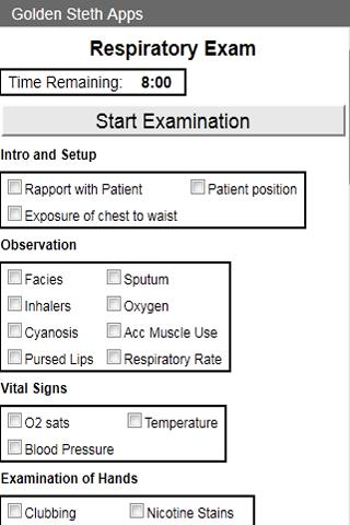 OSCE Repiratory Exam Checklist- screenshot