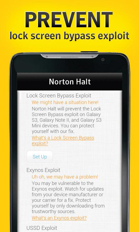 Norton Halt exploit defender- screenshot