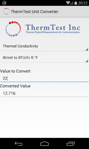 Thermal Properties Converter