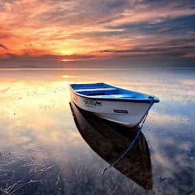 Beautiful Sunrise by Calvin Go - Transportation Boats ( bali, indonesia, sanur, lowtide, sunrise, boat )