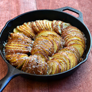 Hasselback Potatoes with Parmesan and Roasted Garlic