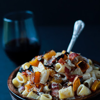 Roasted Butternut Squash Creamy Goat Cheese Pasta.