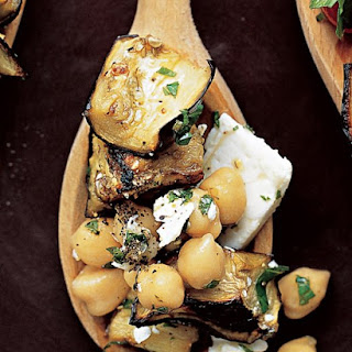 Eggplant Salad with Chickpeas and Feta.