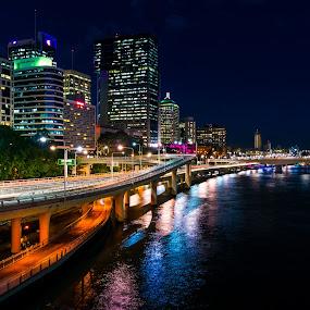 Brisbane by Peter Hoek - City,  Street & Park  Skylines ( skyline, brisbane, night, long exposure, river )