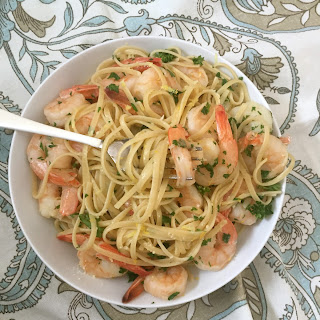 15 Minute Shrimp Linguine With Lemon Garlic Butter Sauce.