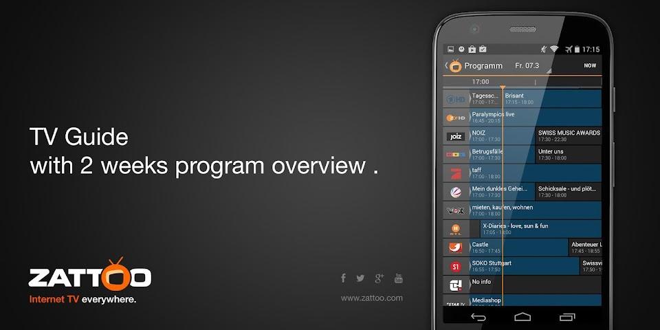 android Zattoo Live TV Screenshot 1