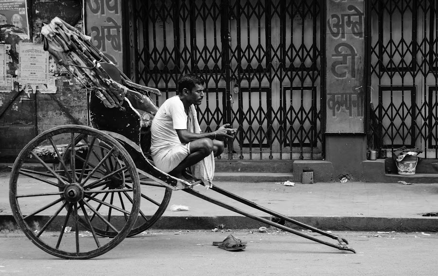 Resting by Caesar Jees - Black & White Street & Candid ( black and white, kolkata, street, rickshaw, people, city )