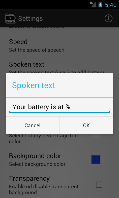 Speak Battery - screenshot