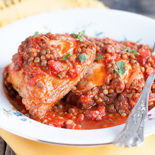 Rustic Chicken Cutlets With Lentils And Tomatoes.