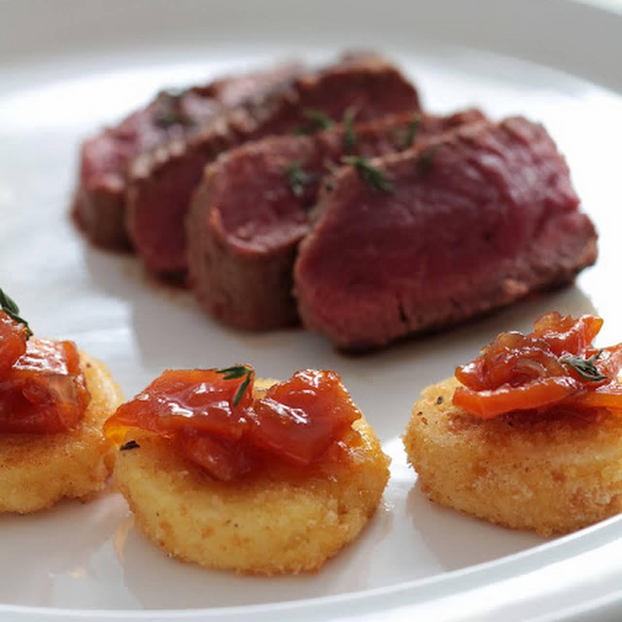 Presto Mini Roast Lamb, Crispy Celery Pucks and Squash Chutney
