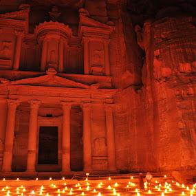 Al Khazneh or The Treasury at Petra, Jordan by Carmel Bation - Buildings & Architecture Public & Historical ( petra by night, the treasury, al khazneh, jordan, travel, petra,  )