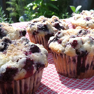 Blueberry-Limoncello Muffins with a Lemon Zest Crumble Topping.