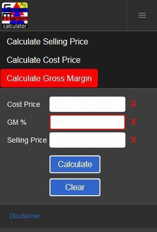 Gross Margin Calculator - screenshot