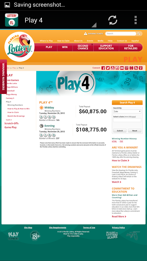 Florida Lottery - screenshot