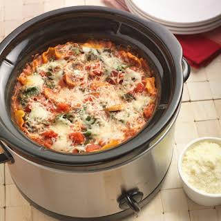 Slow Cooker Mushroom Spinach Lasagna.