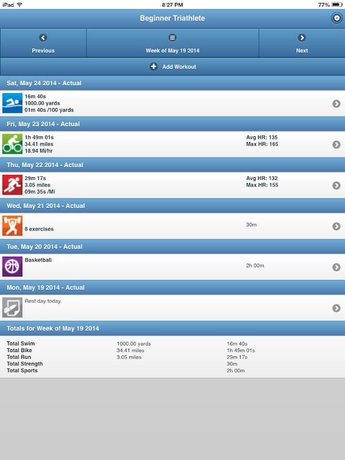 BeginnerTriathlete Mobile - screenshot