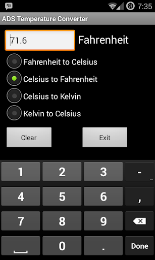 ADS Temperature Converter screenshot for Android