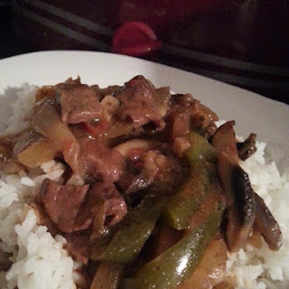 Kicked Up Crock Pot Pepper Steak