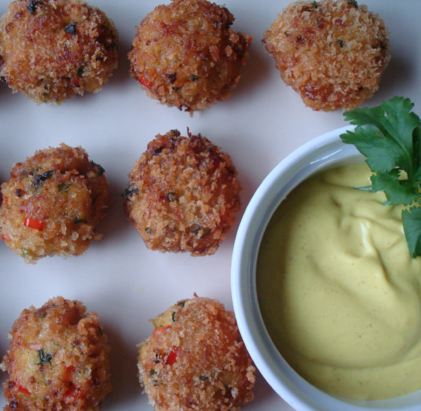 Curried Crab and Scallop Bites with Curry and Lime Mayo Recipe