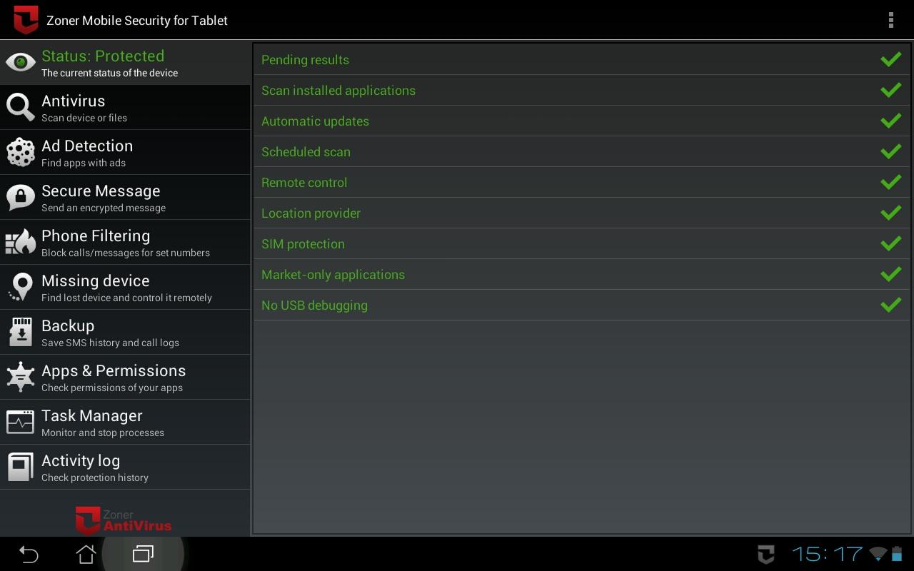 Zoner Mobile Security - Tablet- screenshot