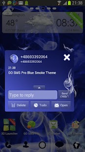 Blue Smoke - GO SMS Pro Theme- screenshot thumbnail