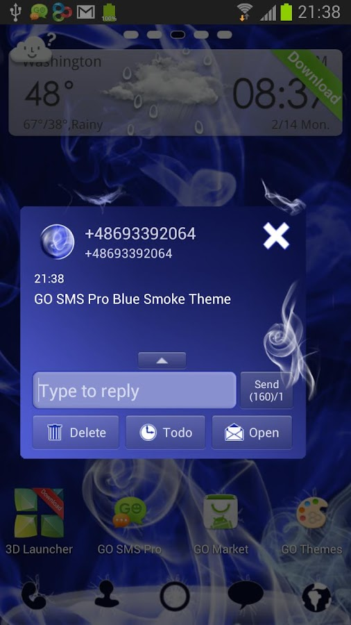 Blue Smoke - GO SMS Pro Theme- screenshot