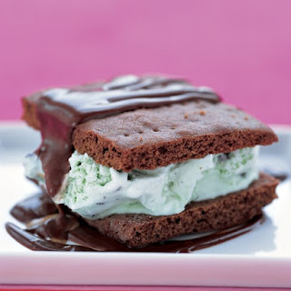 Grasshopper Ice Cream Sandwiches With Hot Fudge Sauce