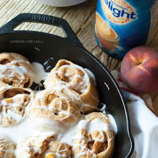 Peach Skillet Cinnamon Roll.