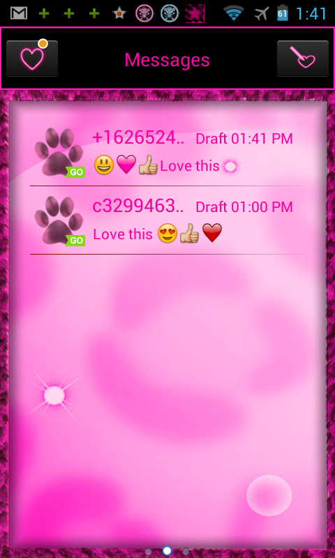 GO SMS PRO Pink Leopard theme - screenshot
