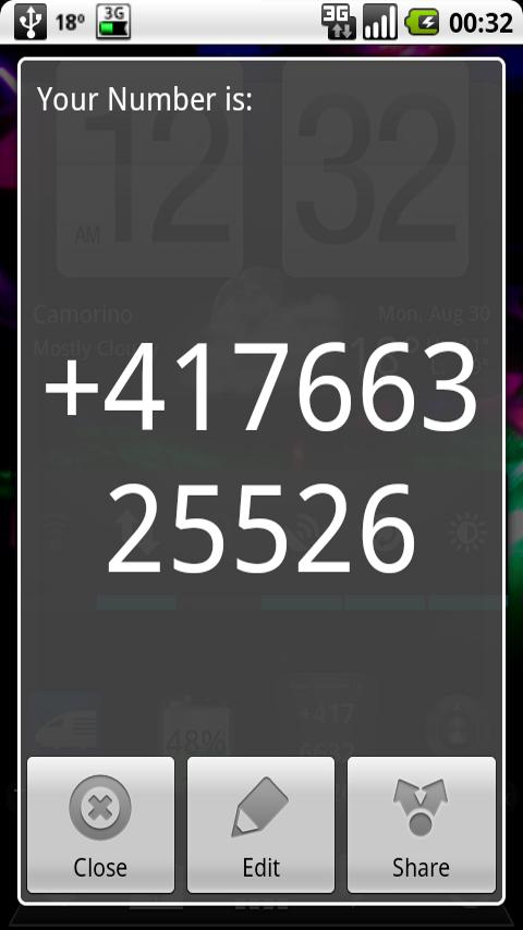 The widget dimension is 1x1 your phone number is just displayed on the