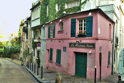 montmartre-paris-france - Once painted by Utrillo, La Maison Rose (the Pink House) is a charming little restaurant with an unhurried feel in the Montmartre section of Paris.