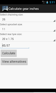 BMX Gear Ratio Calculator - screenshot thumbnail