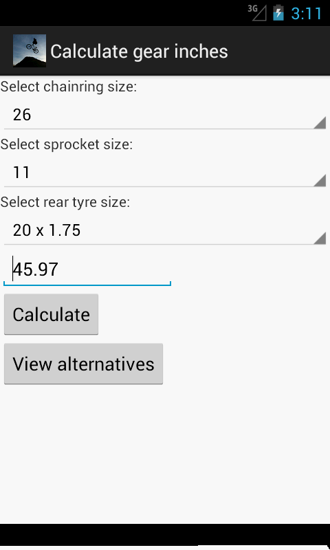 BMX Gear Ratio Calculator - screenshot
