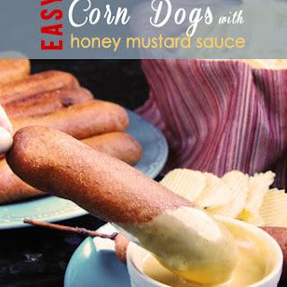 Corn Dogs with Honey Mustard Sauce.