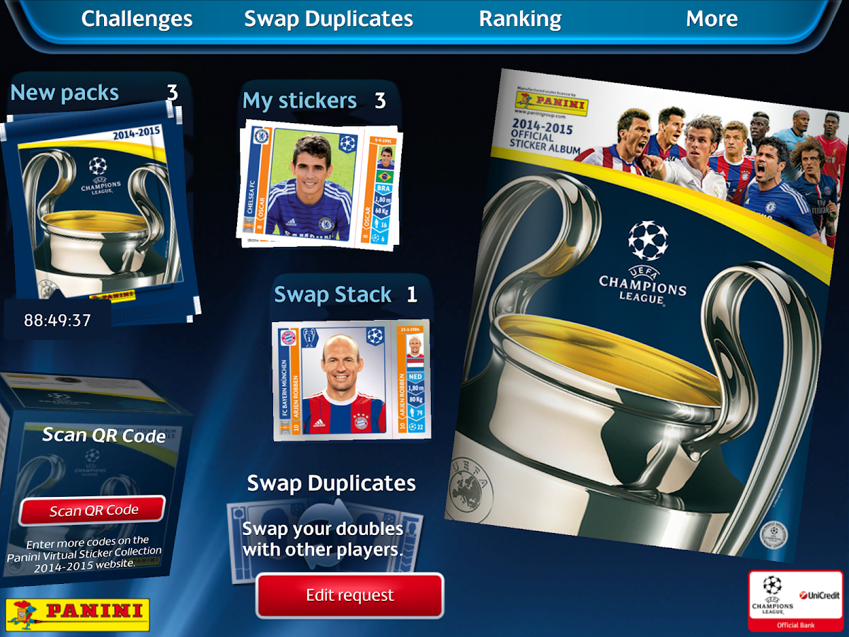 UCL Virtual Sticker Collection - screenshot
