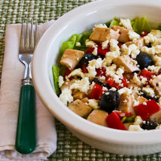 Leftover Chicken Chopped Salad with Red Pepper, Olives, and Feta.
