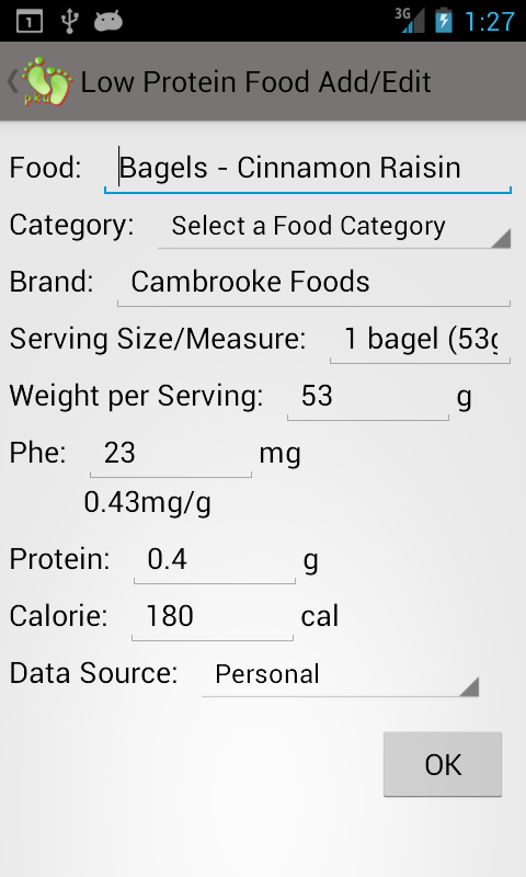 Cambrooke Foods for PKU - screenshot