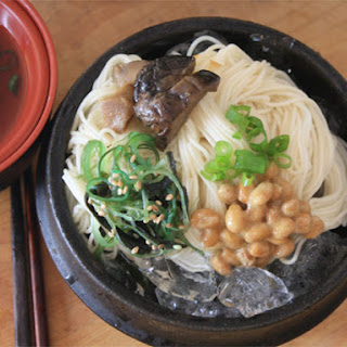 Cold Somen Noodles with Dipping Sauce.