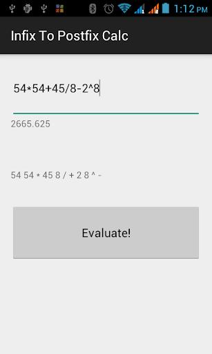 Infix to Postfix Calculator