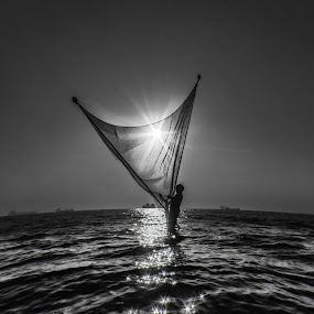 Catch the Light by Ahamadul Karim - Landscapes Waterscapes ( bangladesh chittagong blackandwthite light sunset fisherman sea waterscape,  )