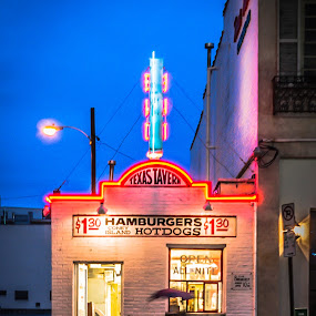 Texas Tavern. by Nathaniel Jorge - City,  Street & Park  Night ( neon, street, resturant, night, va, roanoke )