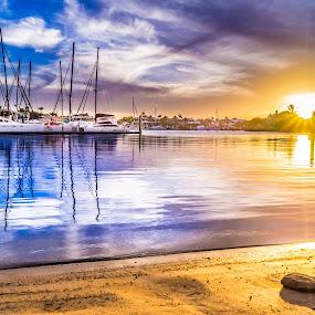 Mooloolaba Sun by Peter Hoek - Landscapes Sunsets & Sunrises ( water, sunset, boat, river, mooloolaba )
