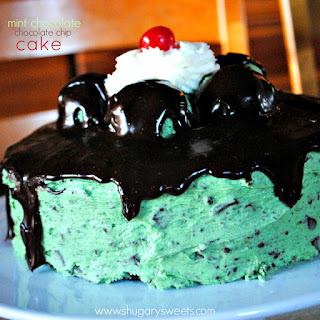 Chocolate Cake with Mint Chocolate Chip Frosting.