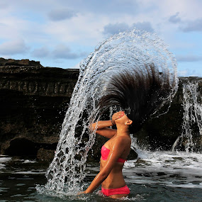 Mohawk Splash by Vanessa Lazzarini - People Portraits of Women ( water, waterscape, funny )