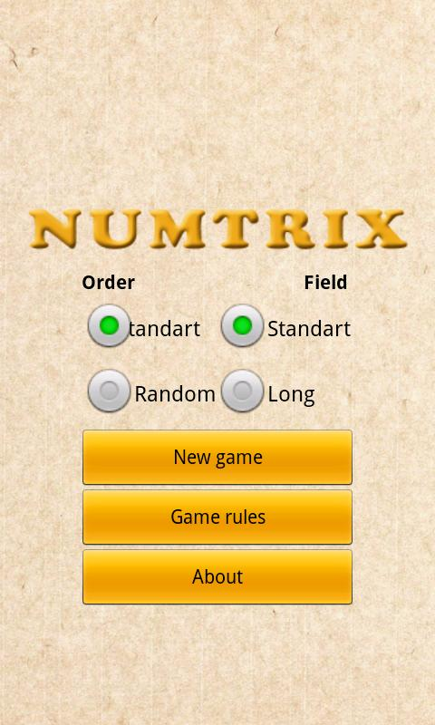 Numtrix- screenshot