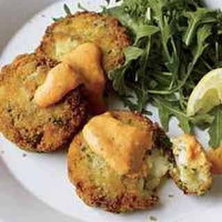 Quick Cod Cakes and Tangy Red Pepper Sauce.