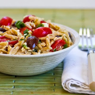 Whole Wheat Orzo Salad with Tomatoes, Kalamata Olives, Feta, and Herb Vinaigrette