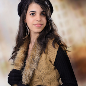 15th Anniversary Portrait I by Toronto-Images .Com - People Portraits of Women ( fashion, model, old, cap, outfit, 15, beauty, pretty, hispanic, looking, pose, girl, young adult, autumn, black hair, fifteen, teenager, look, beautiful, coloured background, gloves, teens, young, posing, portrait, latin, confident, innocence, brunette, years, natural, early )