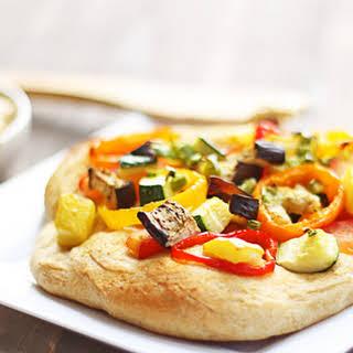Smoky Garlic Mustard & Roasted Veggie Mini Pizzas.