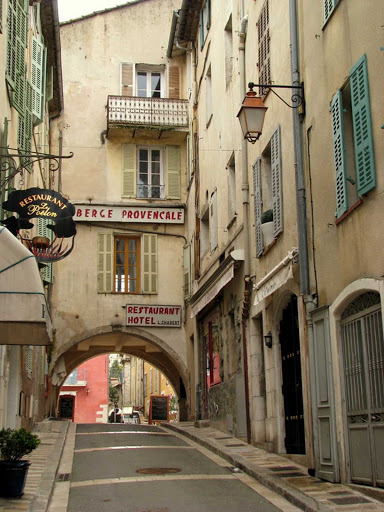Walking toward the square in Valbonne, outside of Cannes, France.